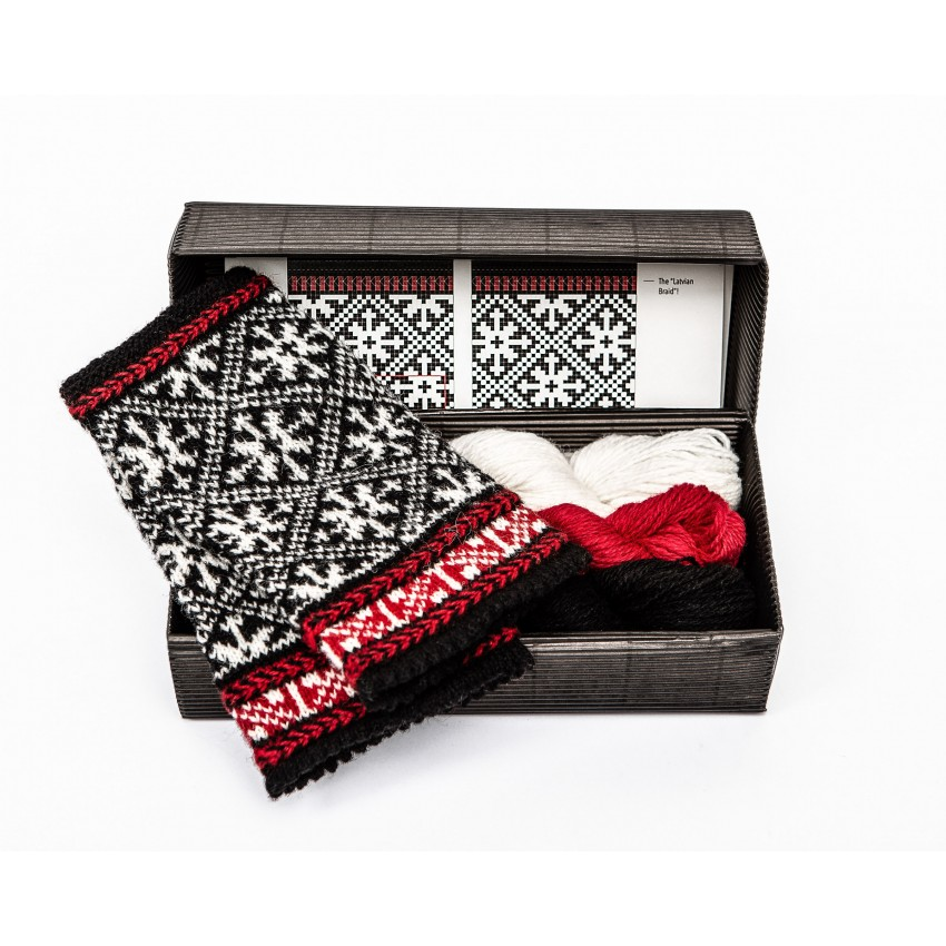 """Fingerless gloves DIY Knitting Kit """"Knit like a Latvian"""" – Twilight 9"""