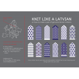 "Latvian Mittens DIY Knitting Kit ""Knit like a Latvian"" – Midnight Flakes 1"