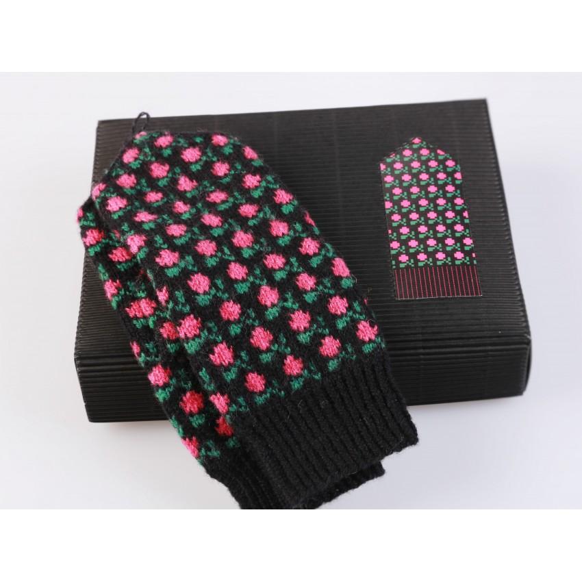 "Latvian Mittens DIY Knitting Kit ""Knit like a Latvian"" - Winter Flowers 12"