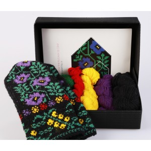 "Latvian Mittens DIY Knitting Kit ""Knit like a Latvian"" - Winter Flowers 9"