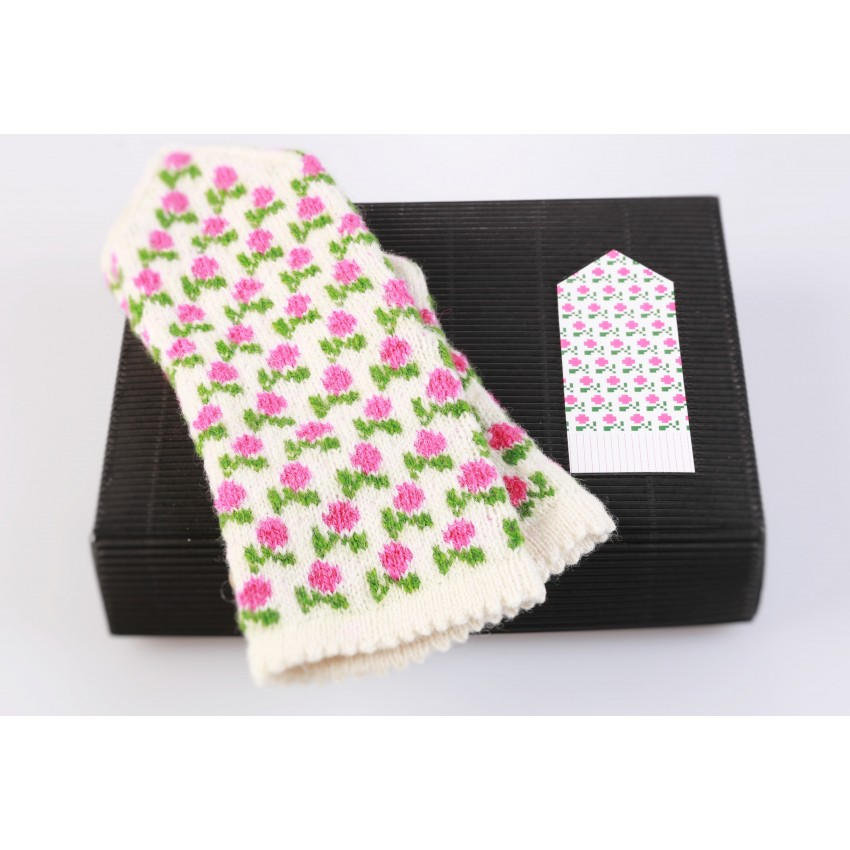 "Latvian Mittens DIY Knitting Kit ""Knit like a Latvian"" - Winter Flowers 12W"